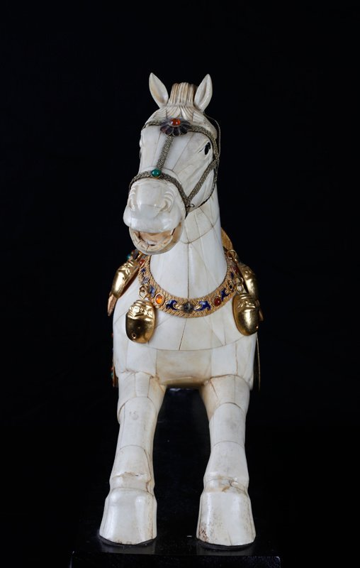 Chinese Bone and Jeweled Enameled Horse - 4