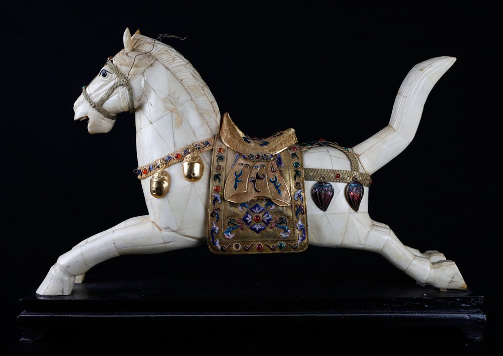 Chinese Bone and Jeweled Enameled Horse - 5