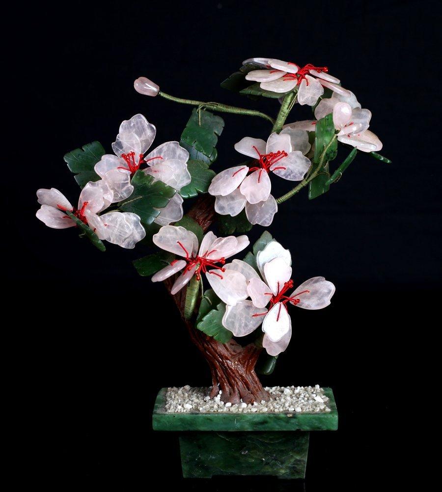 Chinese Rose Quartz & Jade Tree