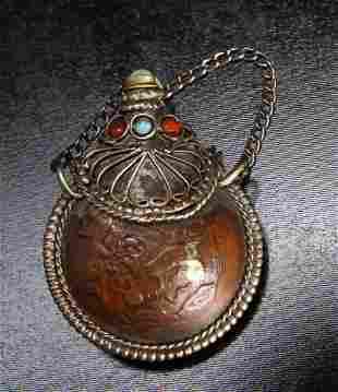 Tibetan Metal & Gemstone Snuff Bottle