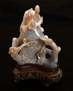 Chinese Carved Agate Censer on Stand