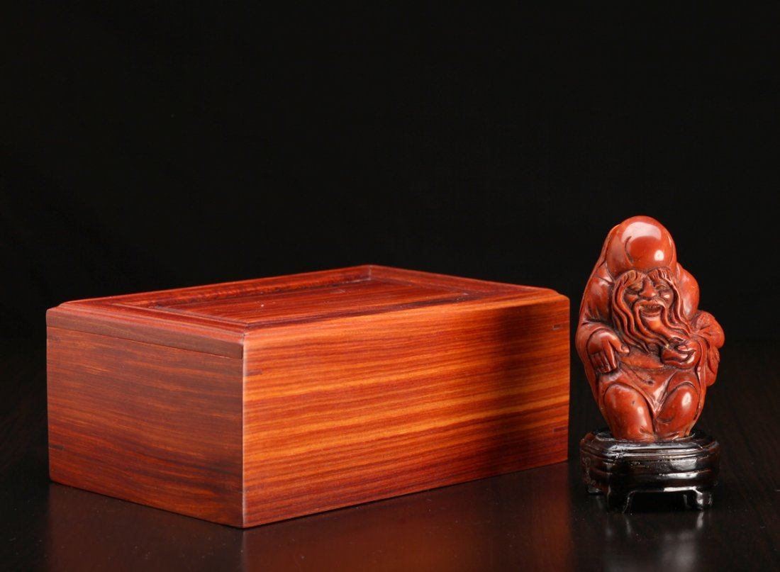 Chinese Carved Shoushan Seal in Wood Box