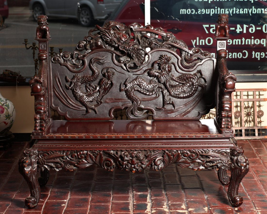 Chinese Export Carved Hardwood Bench