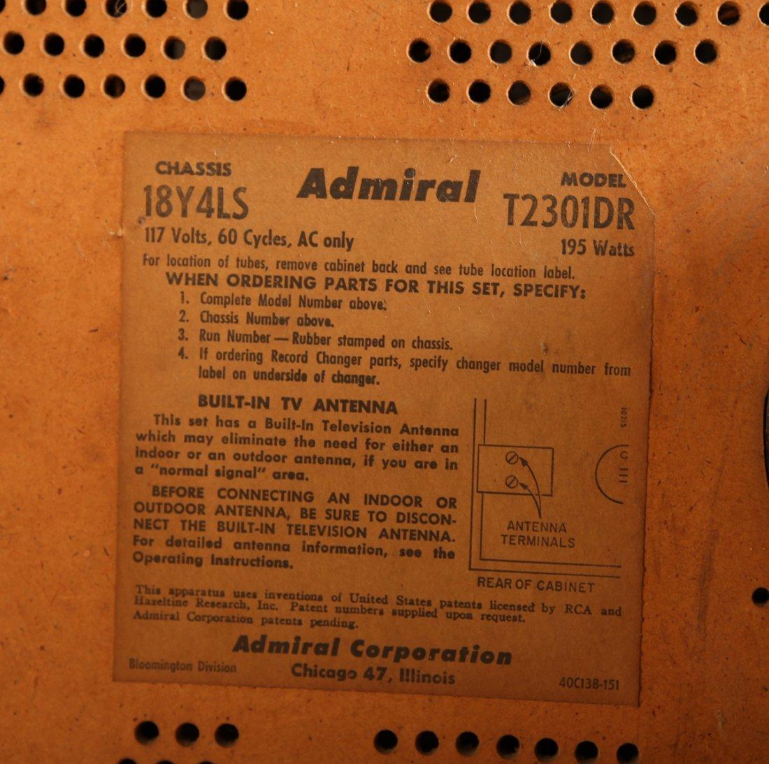 Vintage Admiral TV Advance Cascode Model #T2301DR - 7