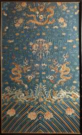 Chinese Embroidered Qing Chi�Fu Framed Silk��Robe Fragm
