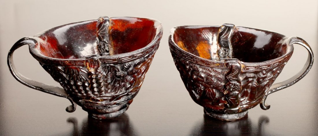 Pair of Antique Chinese Carved Horn Cups