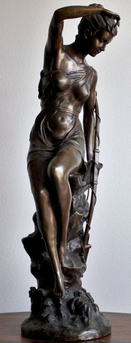"1B: ""Female Archer"" bronze sculpture"