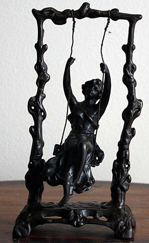 "Moreau ""Girl on Swing"" bronze sculpture"