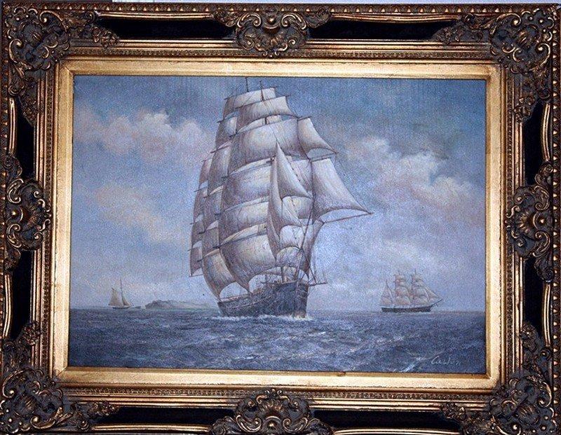 "Custon ""Ships at Sea"" on canvas"