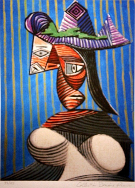"""Picasso """"Bust of Woman with Striped Hat"""" ltd. Ed."""