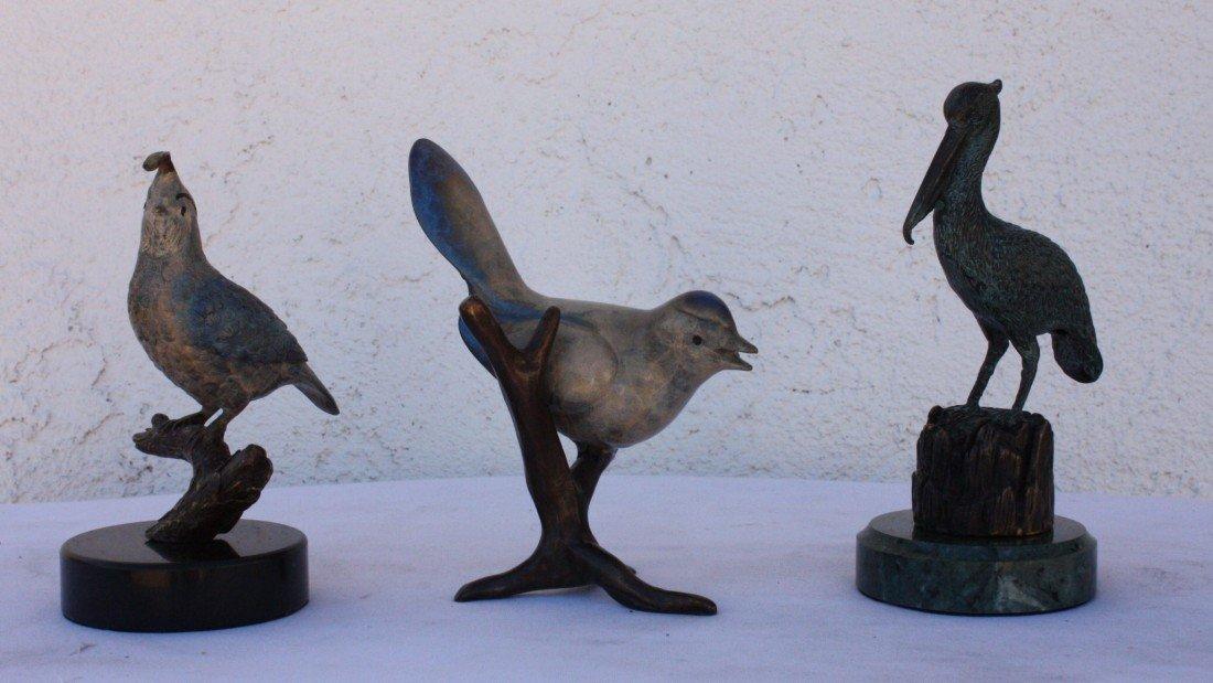 1T: Trio of Bird bronze sculptures