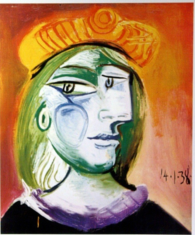 """1D: Picasso """"Woman with Beret"""" Lithograph"""