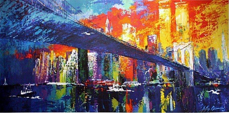 """1E: Neiman """"Brooklyn Bridge"""" Lithograph"""