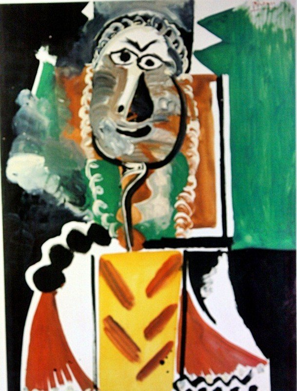 """2D: Picasso """"Bust of a Man"""" lithograph"""