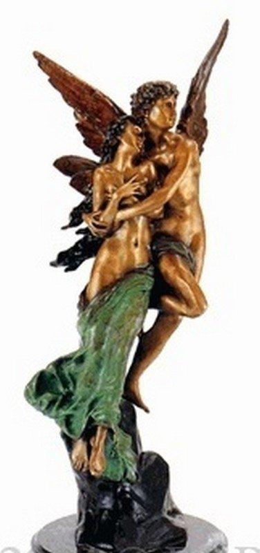 """4A: Godet """"Cupid & psyche"""" bronze sculpture"""