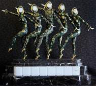 """120F: Chiparus """"Chorus Line"""" Ivory and Bronze sculpture"""