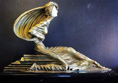 """100D: Chiparus """"Anethesia"""" Ivory and Bronze sculpture"""
