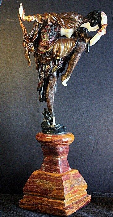 """105D: Colinet """"Snake Dancer"""" Bronze and Ivory sculpture"""