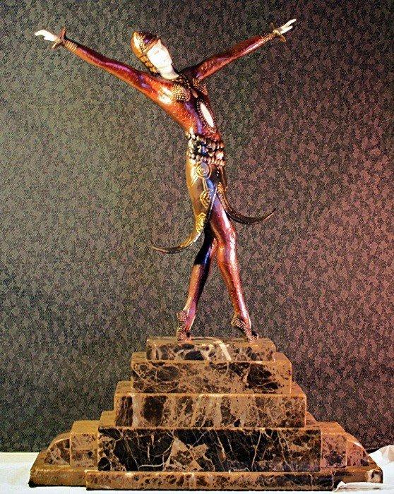 "1D: Chiparus ""Split Skirt"" Ivory and Bronze sculpture"