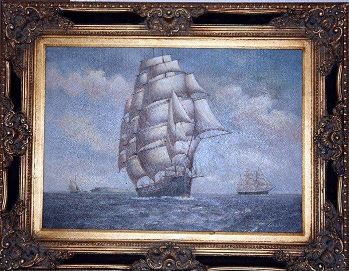 "2G: Custon ""Ships at Sea"" on canvas"