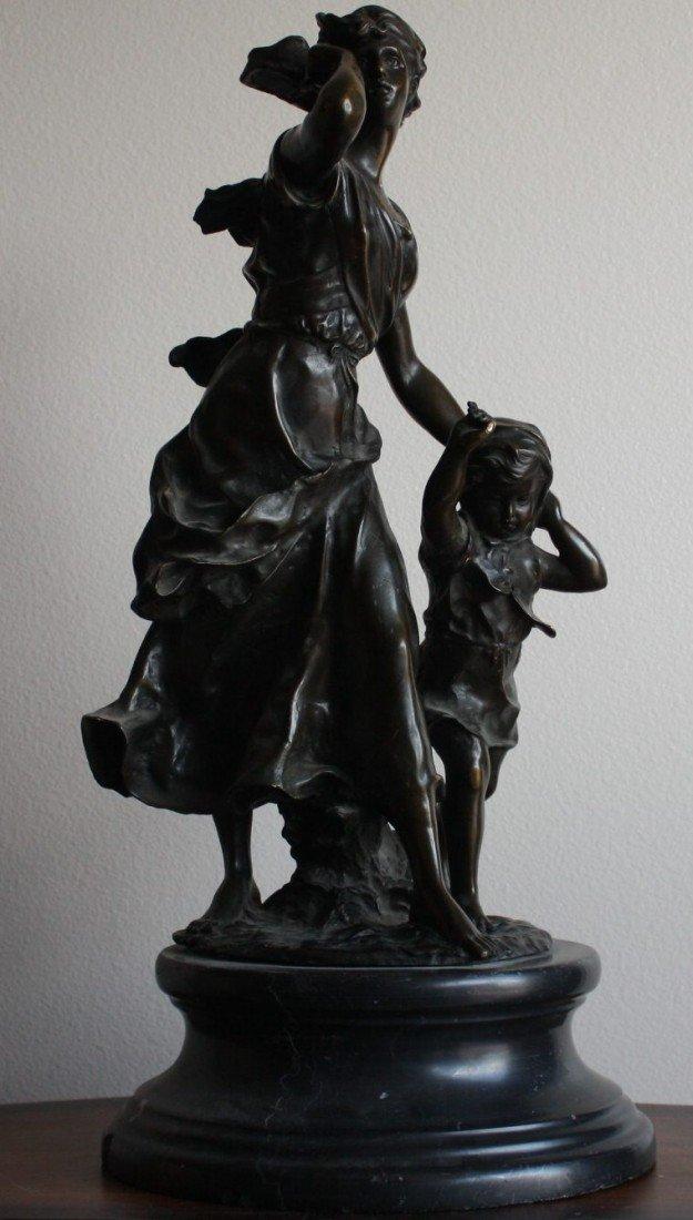 "3E: Moreau ""Woman and Child"" bronze sculpture"