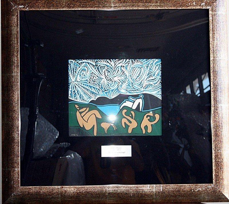"6J: Picasso ""Bacchanal w/goat"" original linocut"