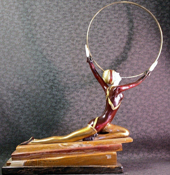 """24C: """"Dancer with ring"""" Chiparus bronze and ivory sculp"""
