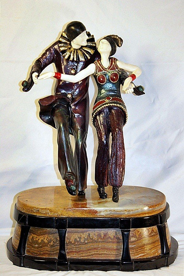 2Q: Bal Costume - Bronze and Ivory Sculpture by Chiparu