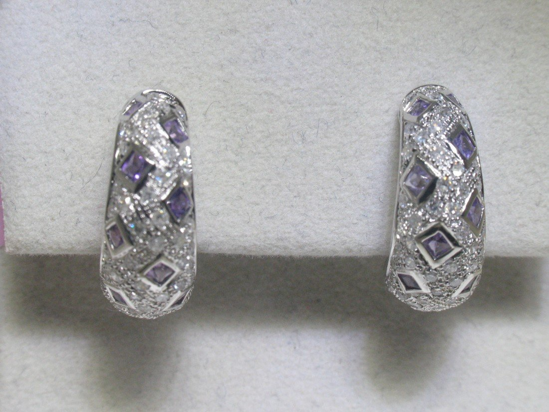 1M: Amethyst and Diamonds 14K White Gold Earrings - Sty