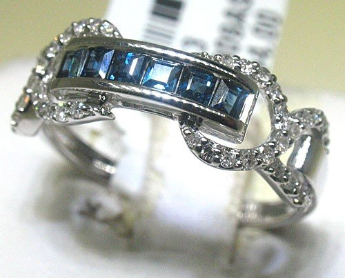 2E: Blue Sapphire and Diamonds Ring - Style# BR4309AS1
