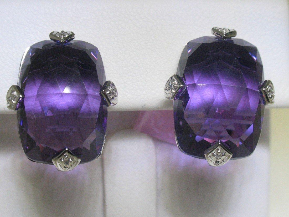 2M: Amethyst and Diamonds 14K White Gold Earrings - Sty