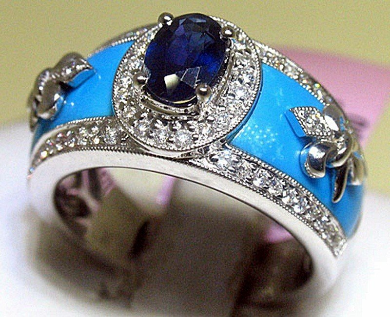 3E: Blue Sapphire, Turquoise and Diamonds 14K White Gol