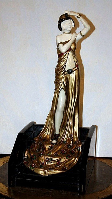 1B: Lady On The Steps - Bronze and Ivory Sculpture by A