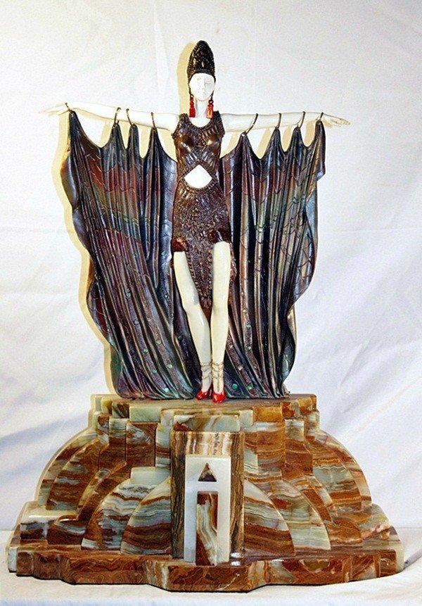14B: Signed Chiparus Bronze and Ivory - Semiramus