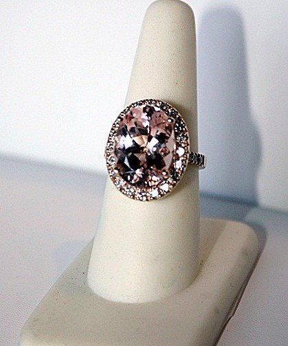 1D: Ladies 14K Rose Gold Morganite and  Diamond Ring