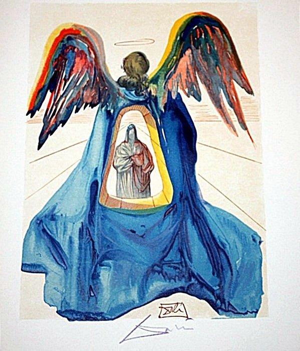 1: Dali rare signed color woodcut