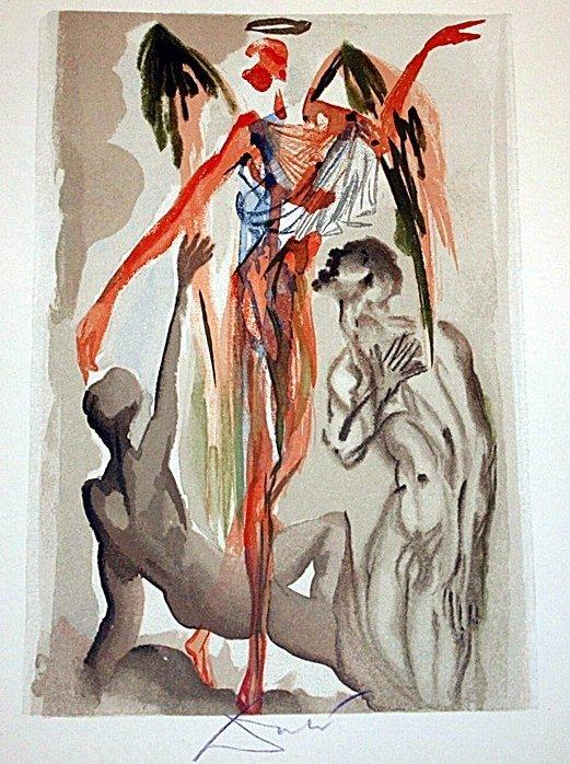 3: Dali rare signed color woodcut