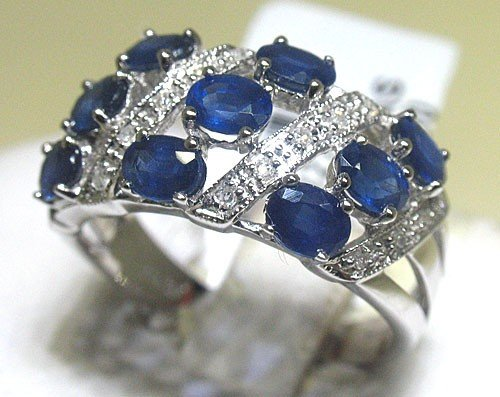 8M: BLUE SAPPHIRE and Diamonds 14K White Gold Ring - St