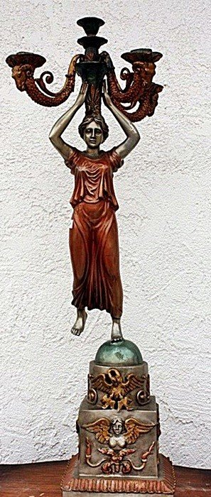 2C: Ornate Bronze sculpture candelabras