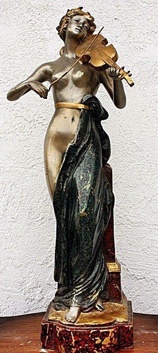 3C: Lady with Violin bronze sculpture