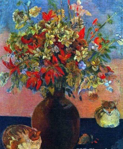"""3A: Gauguin  """"Flowers and Cats"""""""