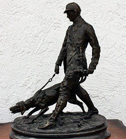 """1: Mene """"Hunter w/hound"""" sculpture"""