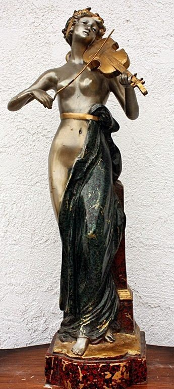 3: Lady with Violin bronze sculpture