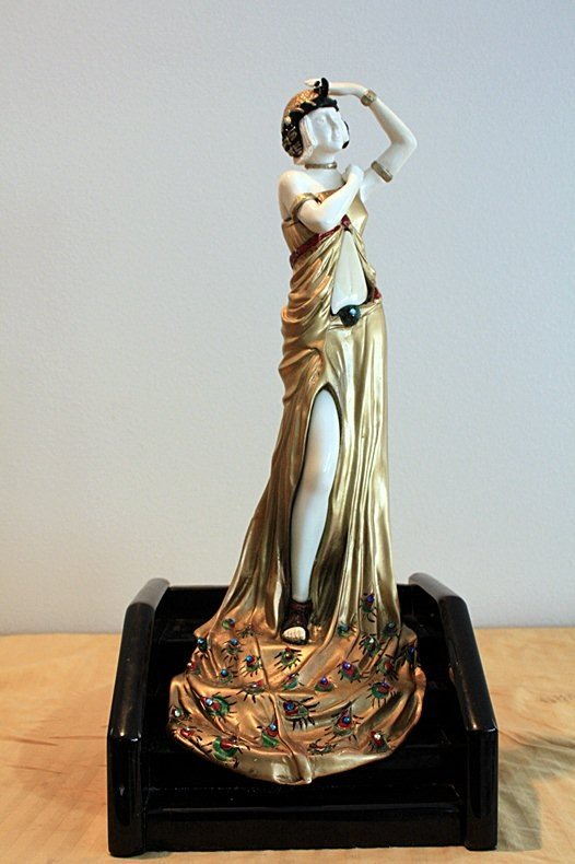 1F: Lady On The Steps - Bronze and Ivory Sculpture by A