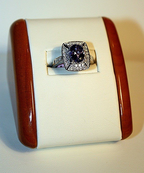 1G: Ladies 14K White Gold Tanzanite and Diamond Ring