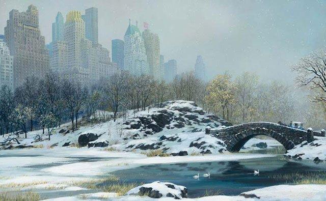 2A: Alexander Chen - Central Park Bridge Winter, Mixed