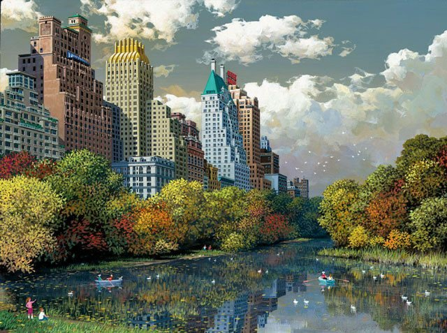 3A: Alexander Chen - Central Park Fall, Mixed Media on