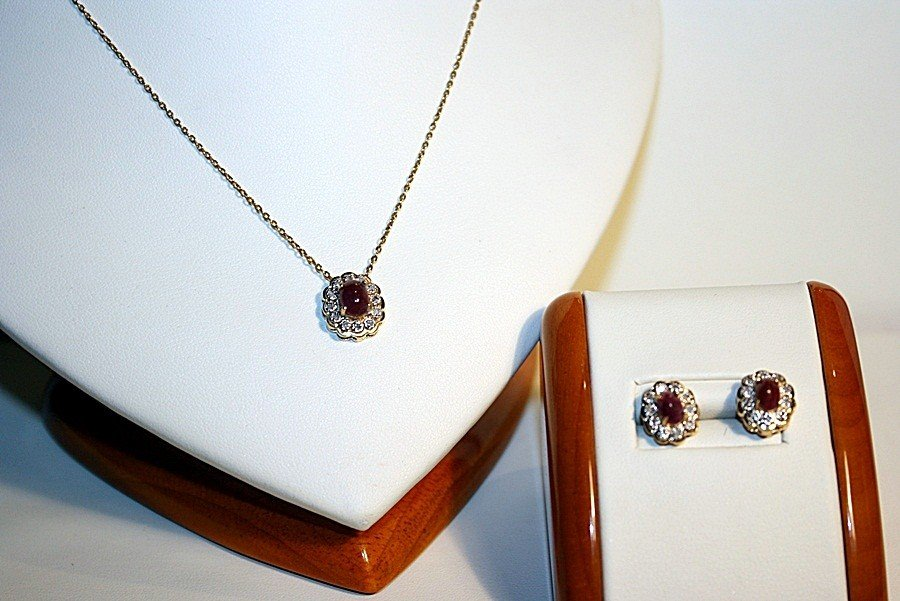 3G: Ladies 14K Yellow Gold Diamond and Ruby Pendant and