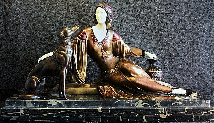 """74F: Chiparus """"Desmona"""" Ivory and Bronze sculpture"""
