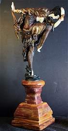 """58N: Colinet """"Snake Dancer"""" Bronze and Ivory sculpture"""